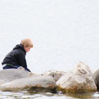 A child explores life among the rocks at Miller Lake